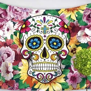 Flower Sugar Skull Tapestry